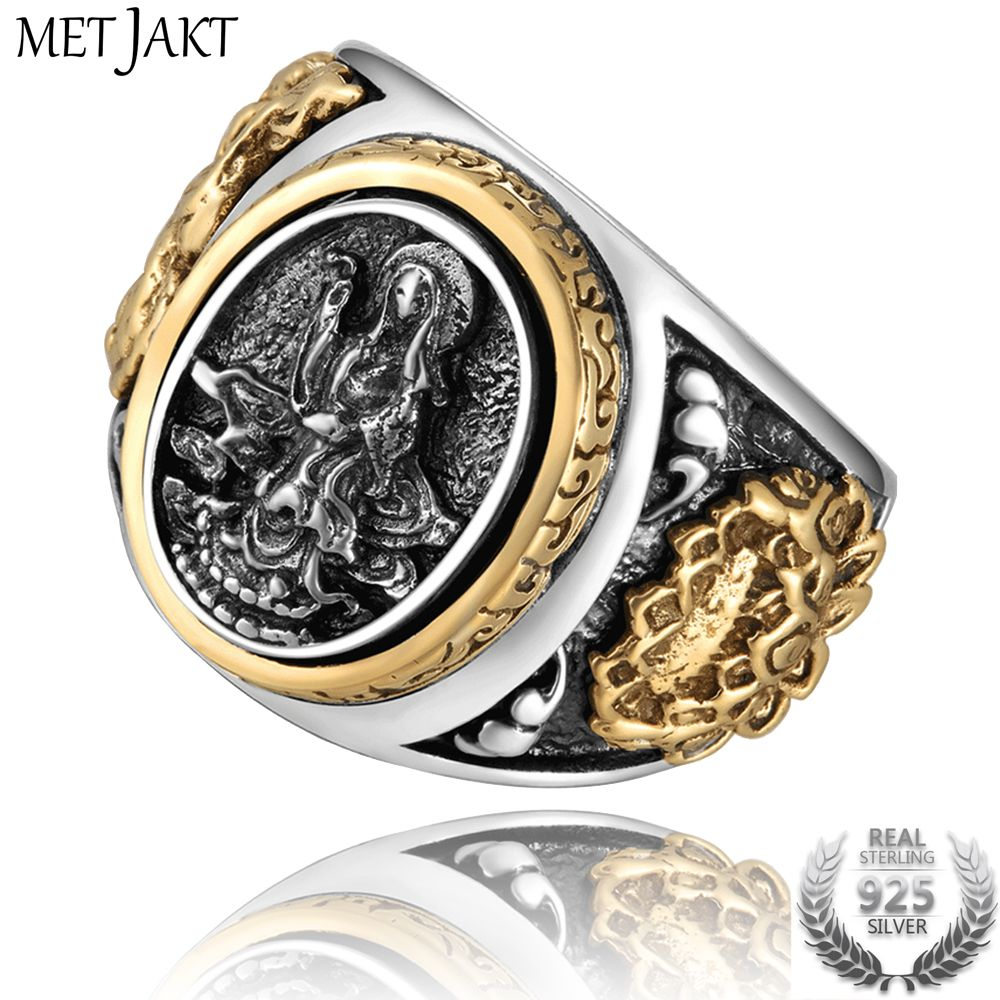 MetJakt Vintage 925 Sterling Silver Holy Buddhism Goddess Ring with Lotus Hand Carved Ring for Men Fine Jewelry