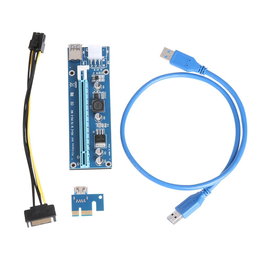 Upgraded Version PCI-E Express 1X to 16X Extender Riser Card Adapter SATA 15Pin Male to 6Pin Power Line USB 3.0 Cable for Mining