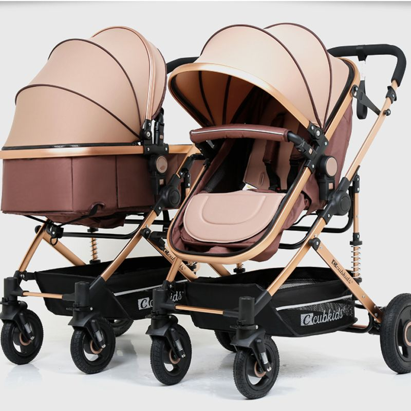 2018 Aluminium alloy frame rubber wheel twins baby stroller can sit lie high landscape folding shock absorber baby stroller