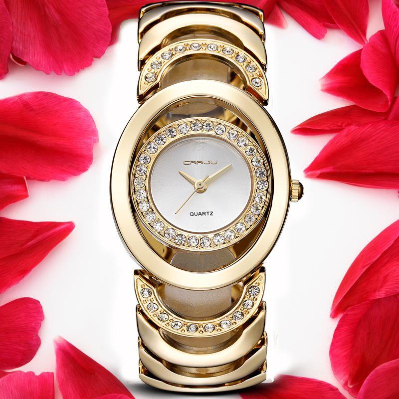 Crrju Роскошные Для женщин часы известные бренды золото модные Дизайн браслет Часы дамы Для женщин наручные Часы Relogio femininos