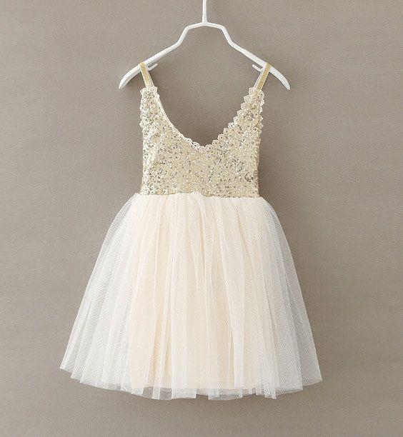 New Hot Children Baby Dress <font><b>Gold</b></font> Sequined Lace Sling White Tutu Dresses For Party Wedding Clothing Size 2-6Y vestido infantil