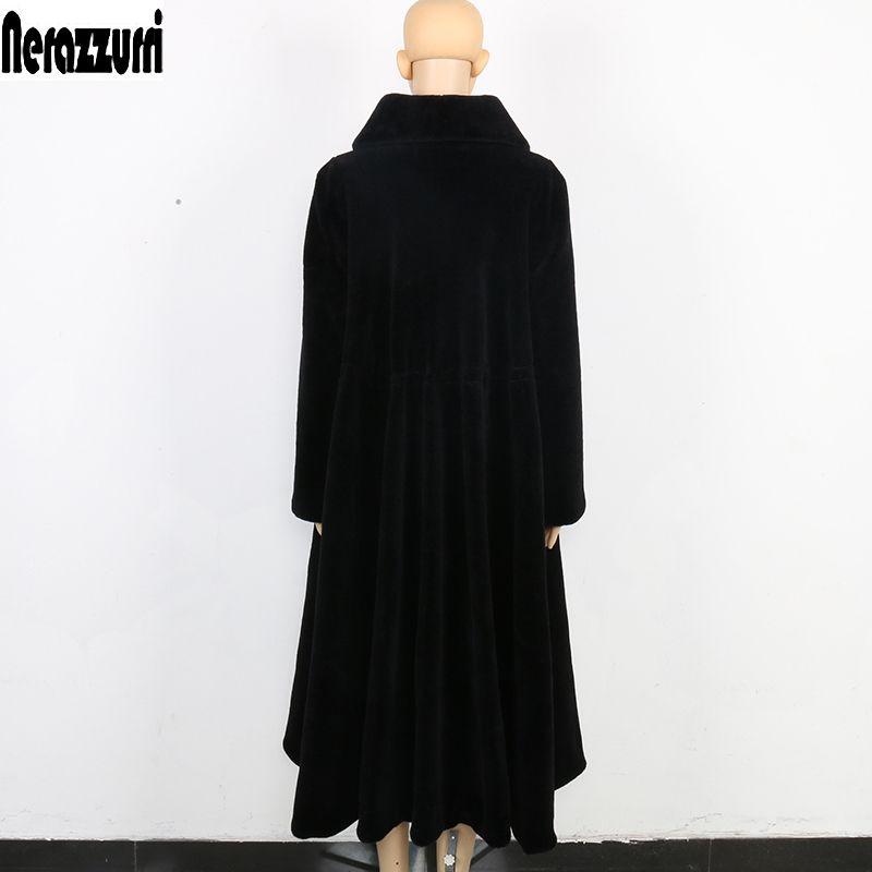 Nerazzurri Winter Long Real Fur Coat Women Oversized Plus Size 5xl 6xl 7xl Elegant Black Skirt Sheep Shearling fur Overcoat
