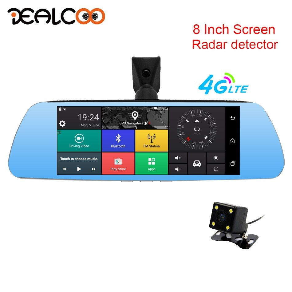 Dealcoo 8' Mirror Dash Cam RearView Camera with Radar Detector GPS 3 in 1 Dual Lens 4G Android 5.1 1080P Full HD Parking Monitor