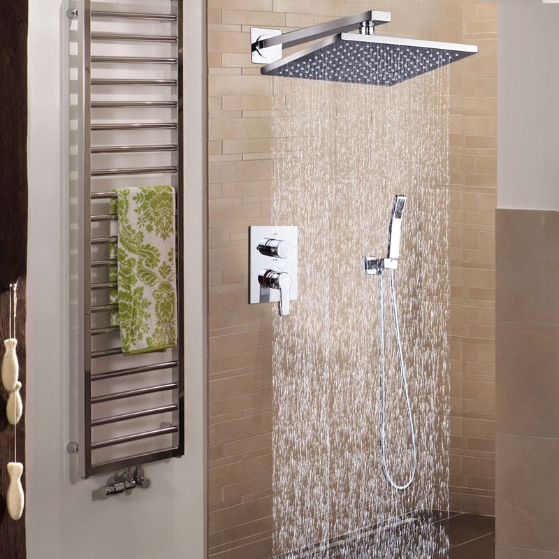 DCAN Bathroom Luxury Rain Mixer Shower Combo Set Wall Mounted 10'' Rainfall Shower Head System Polished Chrome