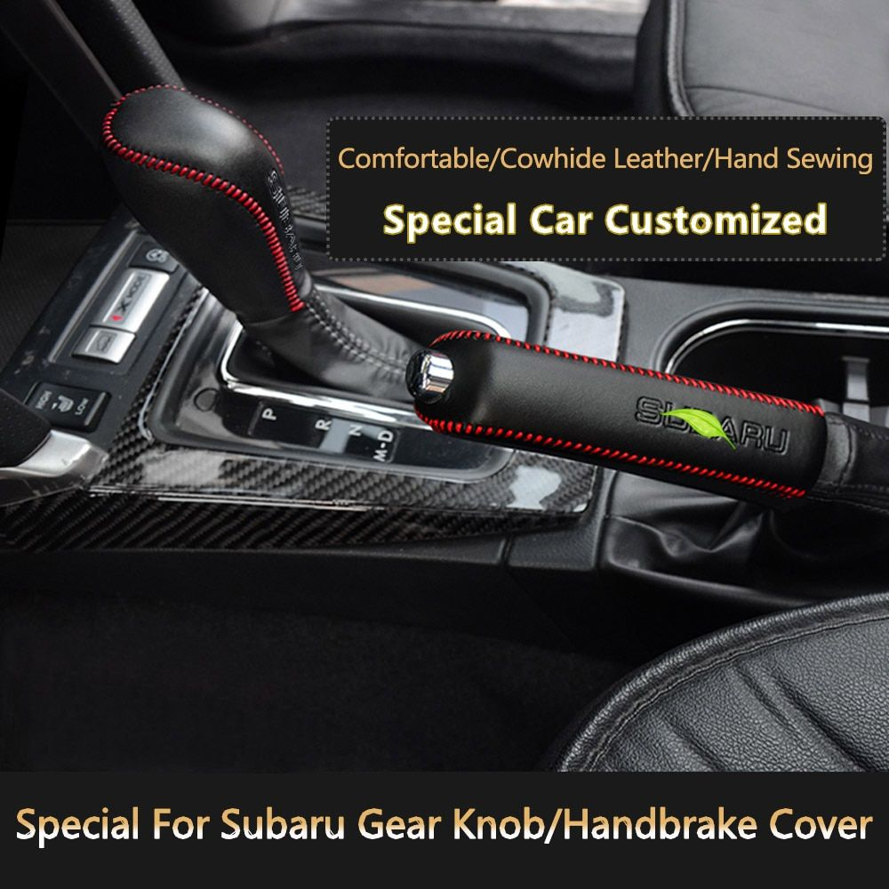 Car Styling Hand Sewing Genuine Leather Car Handbrake Covers Gear Knob Cover For Subaru Forester XV Legacy Outback