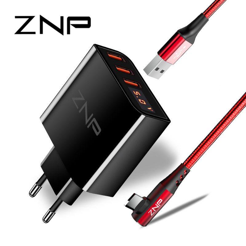 Affichage de LED 3 4 chargeur USB, chargeur universel de téléphone portable ZNP chargeur mural de charge rapide pour iPhone Samsung Xiaomi 3.4A