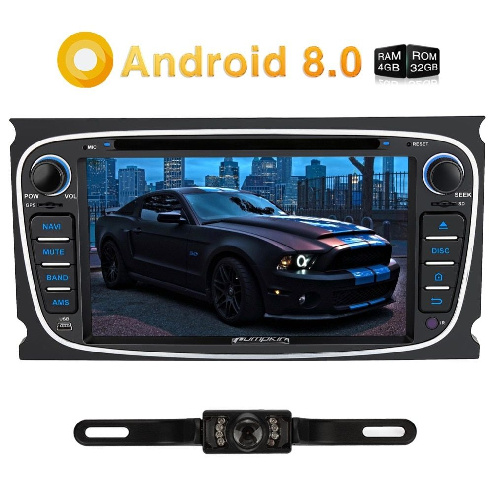 Kürbis 2 Din 7 Android 8.0 Qcta-Core 4G RAM 32G ROM Auto Radio Audio DVD Player GPS Navigation Auto Stereo Für Ford Mondeo/Fokus