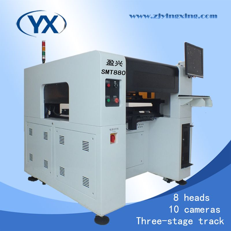 Full Automatic 8 Head SMT Pick Place Machine SMT880,0402,0201,0805,1206,BGA Solar Mounting System