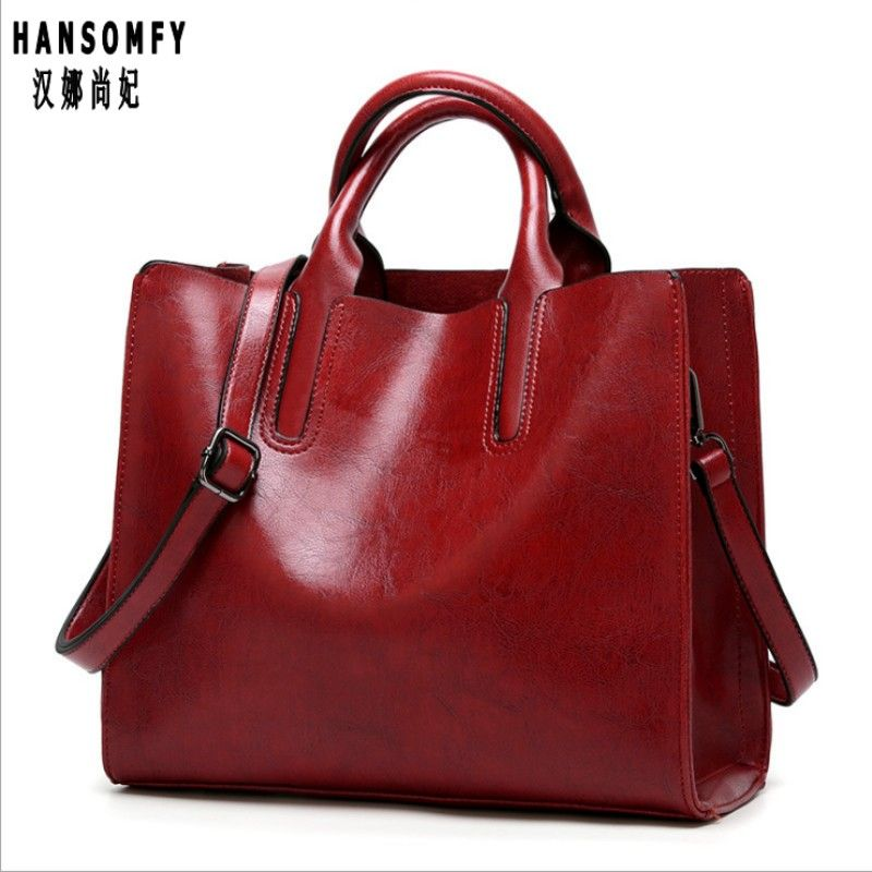 100% Genuine leather Women handbags 2018 New handbags Cross-border goods Europe Simple handbag Ms. Briefcase Shoulder Messenger