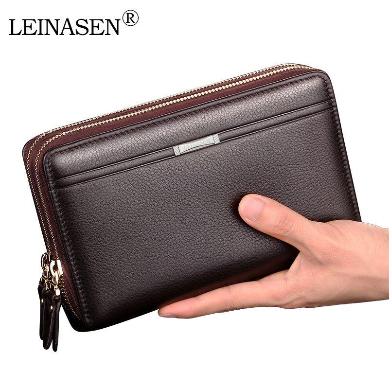 Männer brieftaschen mit münzfach langen reißverschluss geldbörse für männer kupplung business Männlichen Brieftasche doppel-reißverschluss Vintage Große Brieftasche geldbörse