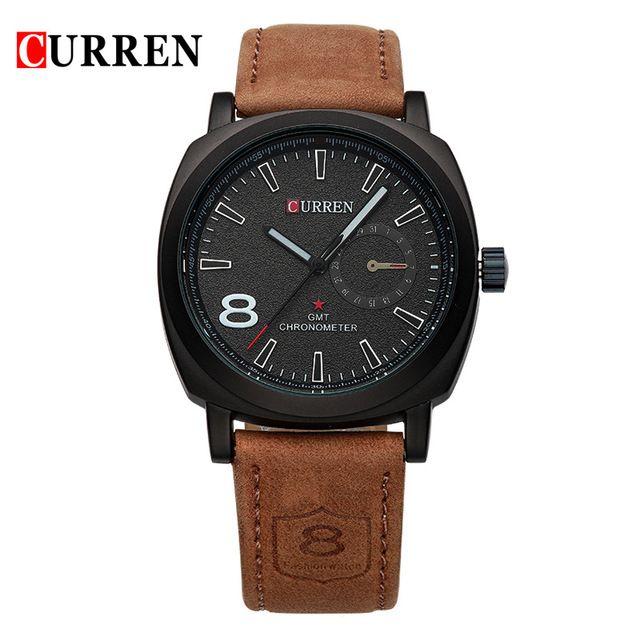 2016 curren hombres reloj de cuarzo de la marca de lujo de reloj de moda casual correa de cuero relojes de pulsera relojes deportivos relogio masculino 8139