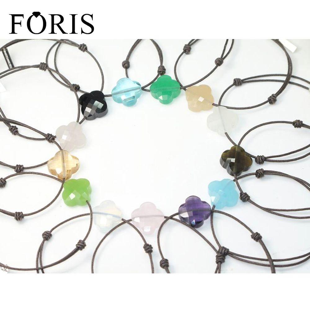 FORIS marque bijoux brun corde 925 en argent Sterling étiquettes pierre bracelets pour femme 11 couleurs meilleure vente Surprise prix PB024