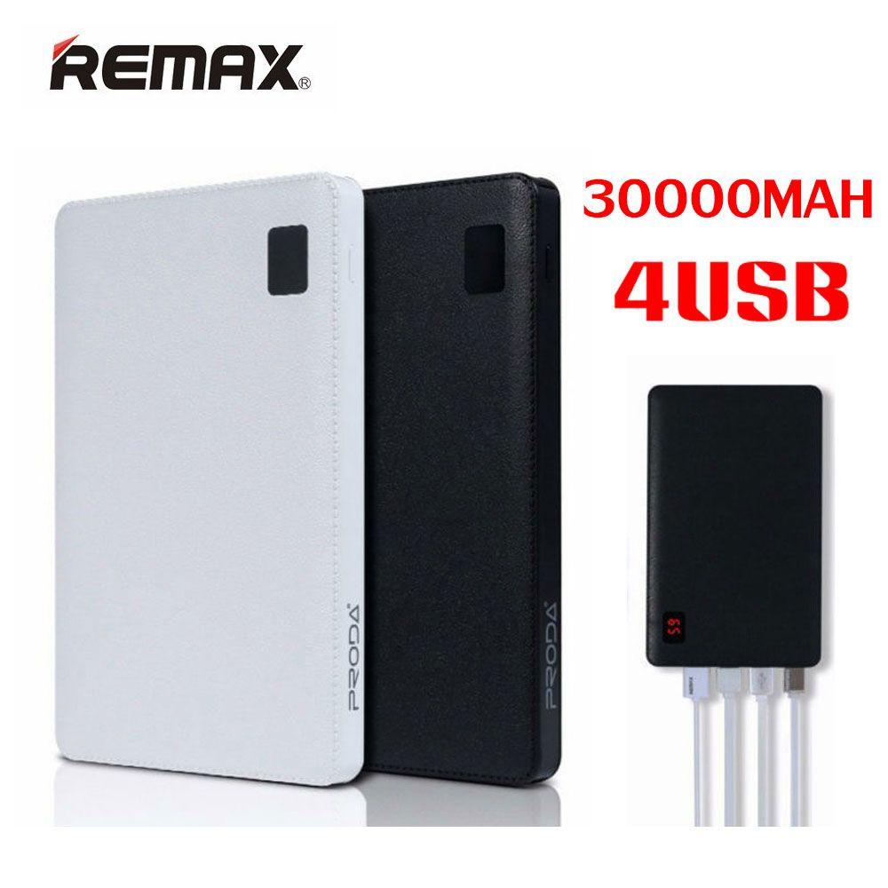 Original Remax Mobile power bank 30000 mAh 4 USB External Battery Charger universal 2 USB power Bank 10000mAh portable charger