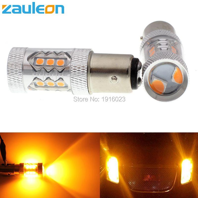 Zauleon 2 шт. 1157 P21/5 Вт BAY15d 80 Вт высокое Мощность Желтый янтарь LED 760 люмен автомобилей сигнала поворота парковка лампы авто заменить легкие