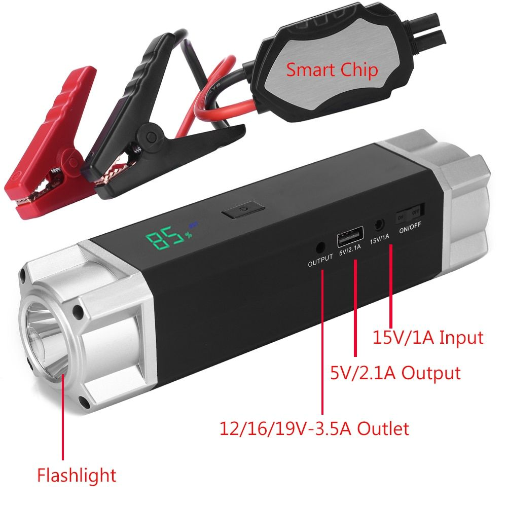 JKCOVER Car Jump Starter 1000A Peak Current Battery Fashionable Battery Booster Diesel Petrol Starting Emergency Auto Power Bank