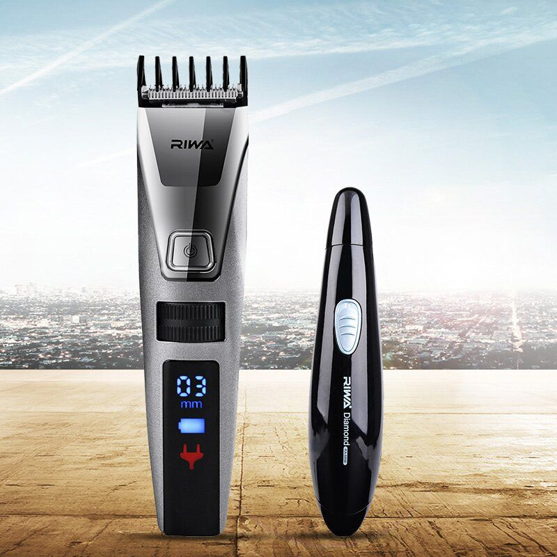 Waterproof Electric Hair Clipper Razor LCD Display Men Shaver Hair Trimmer+2 In 1 Nose Hair Trimer Shaver Blade Sideburns Razor
