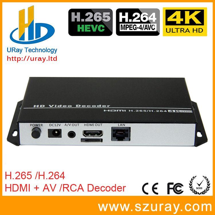 URay HEVC 4K Ultra HD H.265 / H265 And H.264 / H264 HDMI AV RCA Video Streaming Decoder For Decoding HTTP RTSP RTMP UDP Encoder