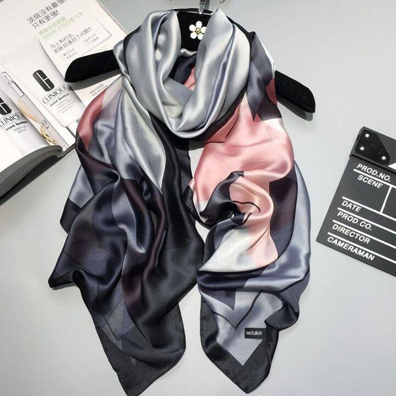 2019 marque de luxe femmes foulard en soie plage châle et Echarpe été Wrap Designer écharpes grande taille femme plage étoles bandana
