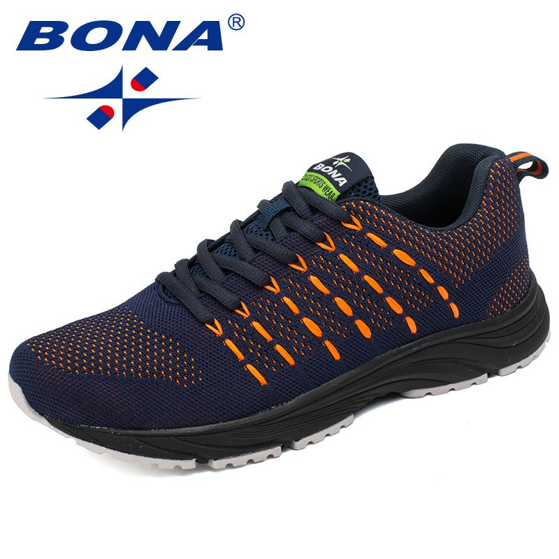 BONA New Popular Style Men Running Shoes Mesh Weaving <font><b>Upper</b></font> Sport Shoes Ourdoor Jogging Walking Sneakers Lace Up Free Shipping