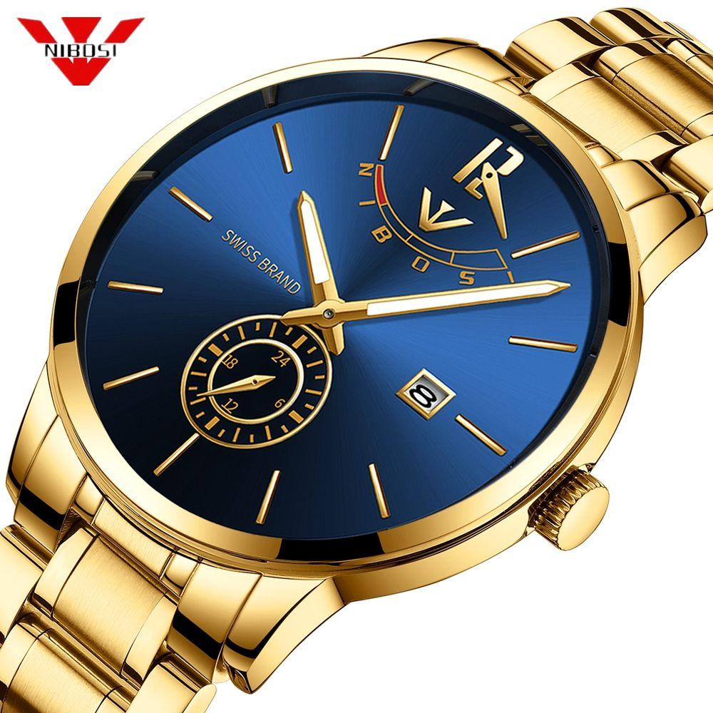 NIBOSI Relogio Masculino Relojes 2019 Gold Watch Mens Watches Top Brand Luxury Sport Quartz Watch Business Waterproof Wristwatch