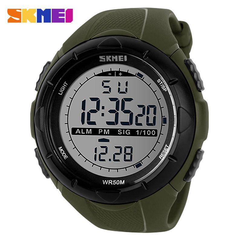 SKMEI Hombres de Escalada Militar Grande Del Dial Relojes de Alarma a prueba de Golpes de Pulsera Digital Deportes Reloj Resistente Al Agua 1025