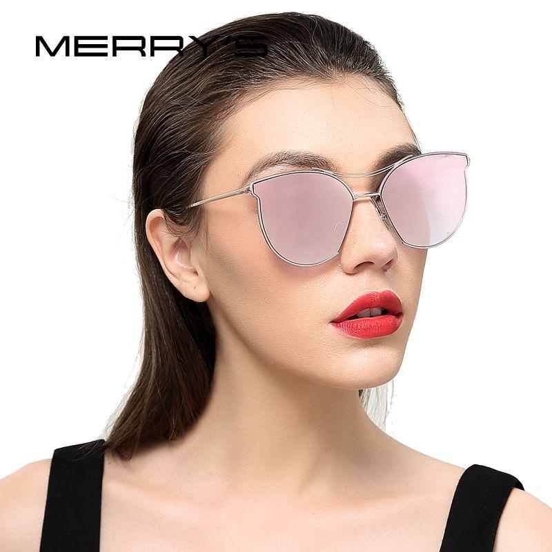 MERRY'S Femmes Mode lunettes de Soleil Classique Marque Designer lunettes de Soleil Vintage Double Poutre En Métal Cadre Lunettes S'8014