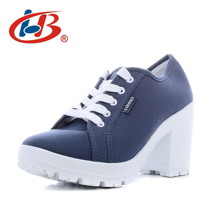 Libang alta calidad Tacones Zapatos mujer plataforma cómoda Zapatos mujeres cuñas de plataforma transpirable Bombas mujer Tacones altos Zapatos