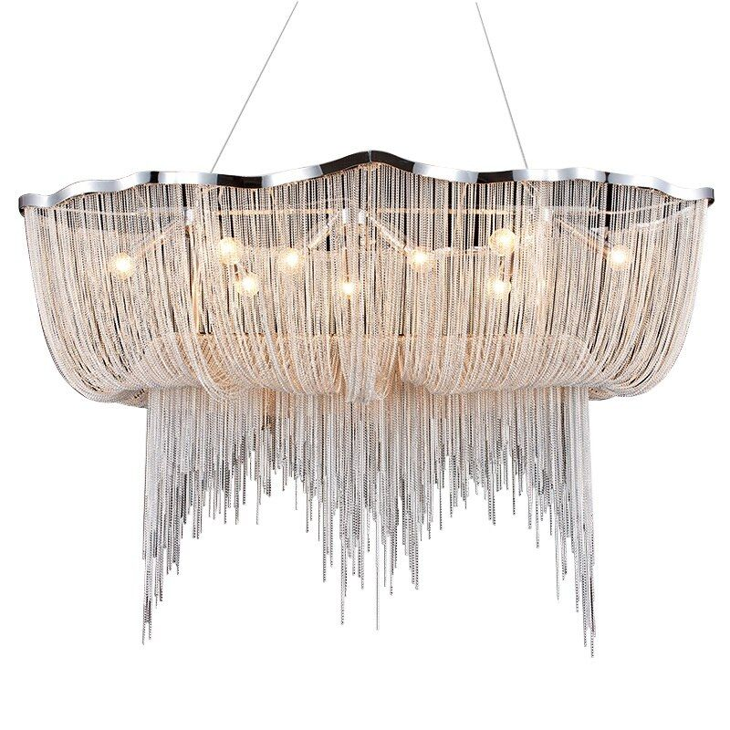 Wongshi Moderne Aluminium Kette Nordic Stil Quaste Kronleuchter Quaste Drop Lampe Kreative Restaurant Lobby Licht