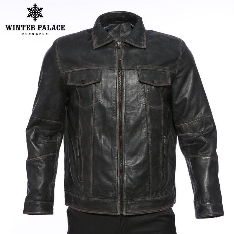 Retro men's locomotive collar leather jacket men Student Fashion leather jacket Street style coat Men's Clothing Young trend
