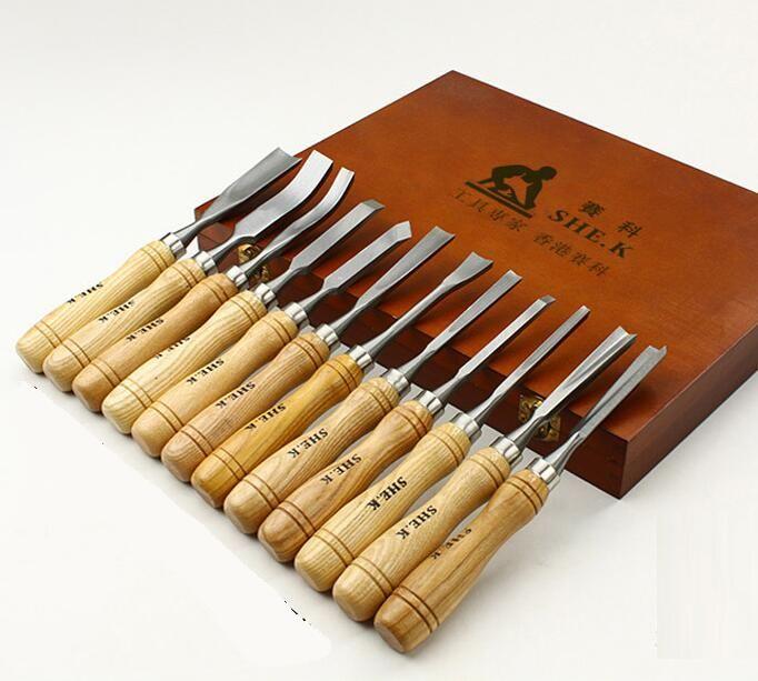 Outil de Sculpture Sur bois Kit 12 pcs/ensemble Graver Couteau Racine Bois Gravé Outils De Travail Du Bois Ciseau.