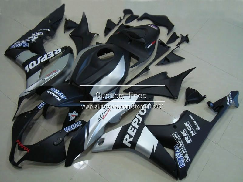 ABS Injection body fairings kit for Honda CBR 600 RR fairing set 07 08 CBR 600RR CBR600RR 2007 2008 black repsol motorcycle part