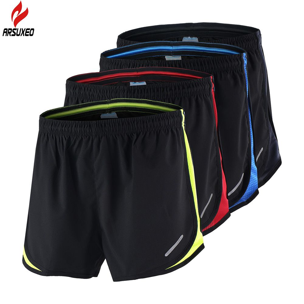 ARSUXEO Men's Running Shorts 2 in 1 Summer Quick Dry Marathon Shorts Gym Jogging Crossfit <font><b>Fitness</b></font> Sport Shorts with Waist Rope