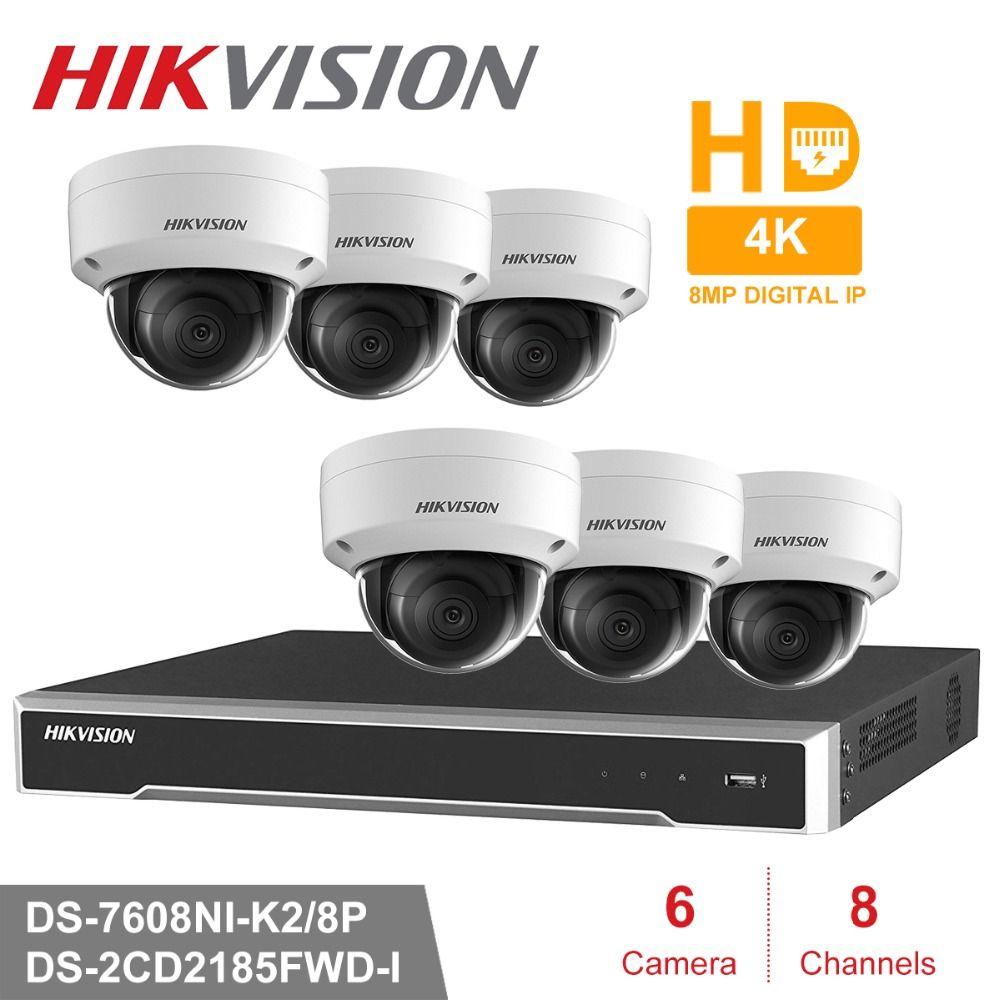 Hik 8CH HD POE NVR Kit 6 stücke 8MP DS-2CD2185FWD-I CCTV Sicherheit System Dome Outdoor IP Kamera IR Nacht Vision überwachung Set