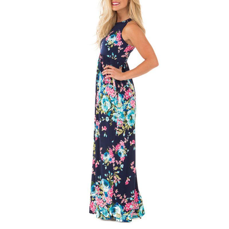 Boho Floral Printed Sundress O-neck Summer Sexy Pleated Maxi Dress 2018 Casual Beachwear <font><b>Femininos</b></font> Dress Plus Size LX328