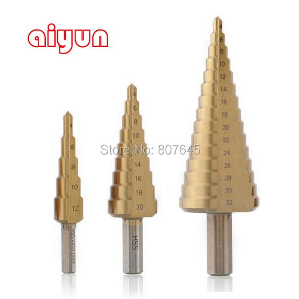 3pcs/set HSS Step Drill Bit Set  core drill bit Titanium Coated cone Step Drill Bit Set hole cutter Metric