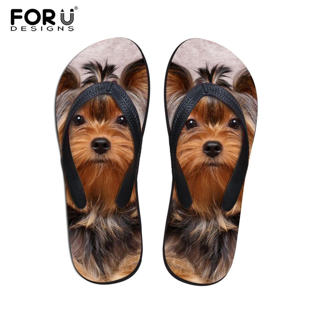FORUDESIGNS 2018 De Mode D'été Plage Flip Flops Femmes Pantoufles Mignon 3D Pet Chat Chien Terrier Imprimé Sandales Dame Appartements Chaussures