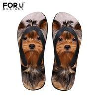 FORUDESIGNS 2018 moda verano playa Flip Flops mujer Zapatillas lindo 3D Pet gato perro Terrier impreso sandalias señora pisos
