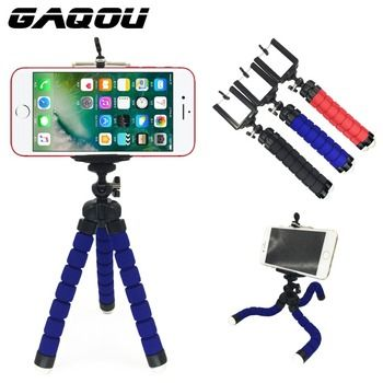 GAQOU Tripod + Clip Stand Mini Flexible For Camera Mobile Phone Holder Stand Flexible Octopus Sponge Tripod Bracket Stand Holder