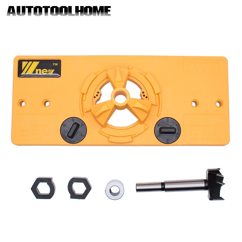 35mm Forstner Hinge Hole Saw Jig Drilling Guide Locator Hole Opener Door Cabinets DIY Tool for Woodworking