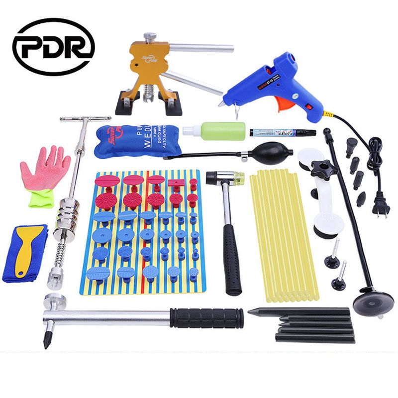 PDR Tool Kit Paintless Dent Repair Straighten Dents Reflector Board Slide Hammer Dent Puller Glue Tabs Suction Cups Hammer Tools
