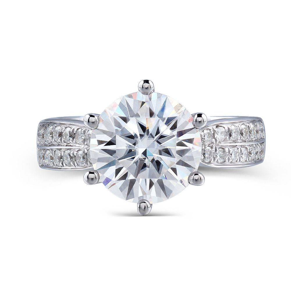 Transgems Solid 14K 585 White Gold 3 Carats CT 9MM F Color Moissanites Engagement Ring with Accents for Women Wedding Gifts