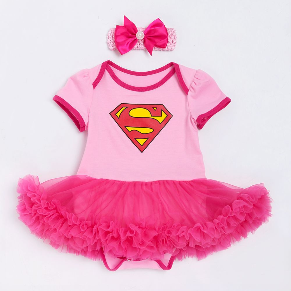 Superman Bébé Fille Barboteuse Tutu Barboteuse Robe Jumpersuit + bandeau 2 pcs Règle Halloween Party D'anniversaire cosplay Nouveau arrivent