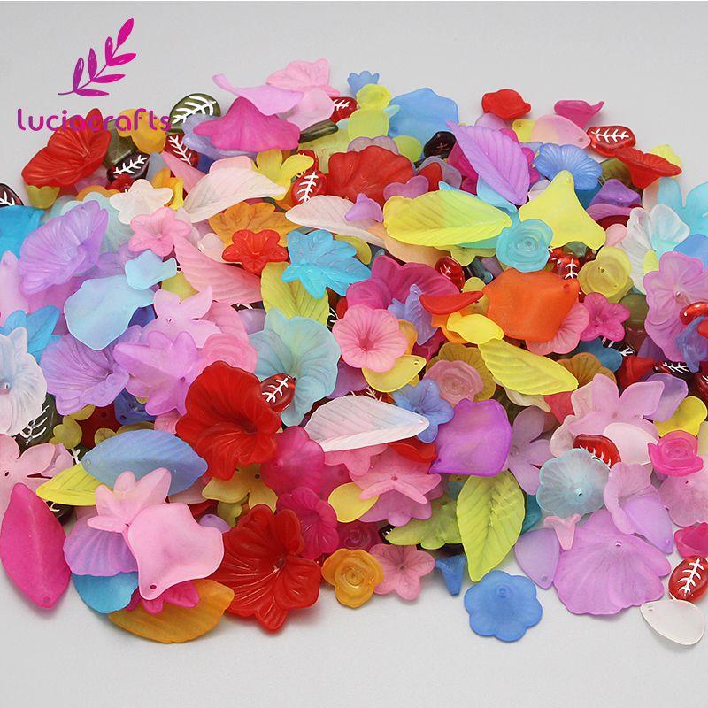 Lucia Handwerk Zufall mixed stil farbe Lily Blume Frosted Acryl Perlen DIY Bekleidungs Handwerk 50g/100g 028008205 (2)
