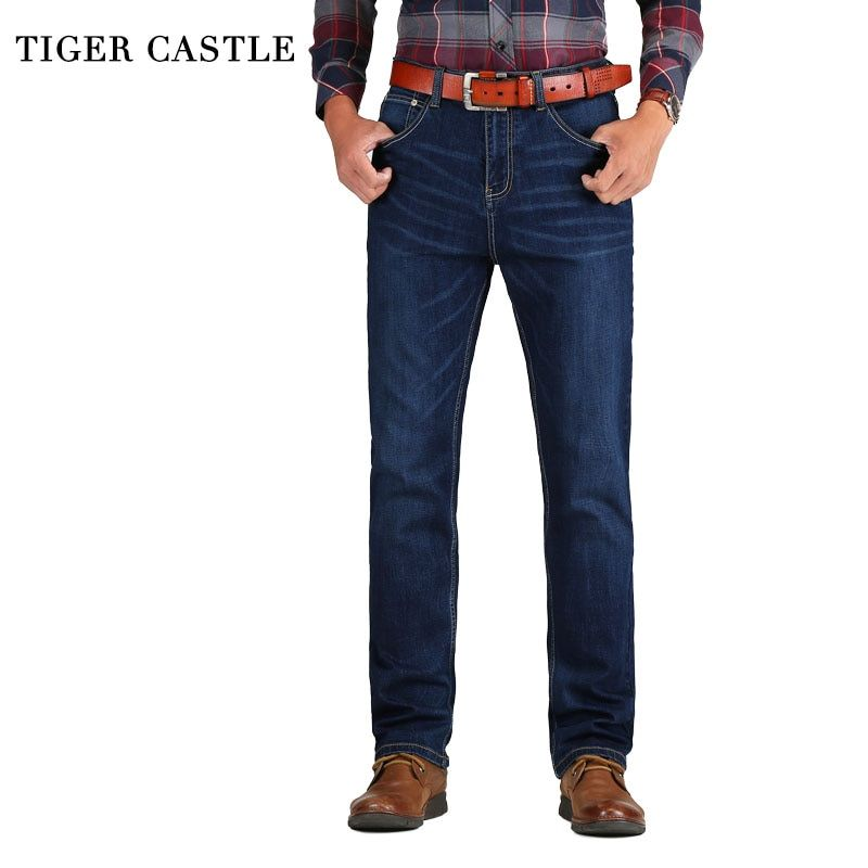 TIGER CASTLE Casual Mens Classic Cotton Jeans Stretch Male Business Denim Pants Slim Fit Brand Overalls for Men Size 38 40 42
