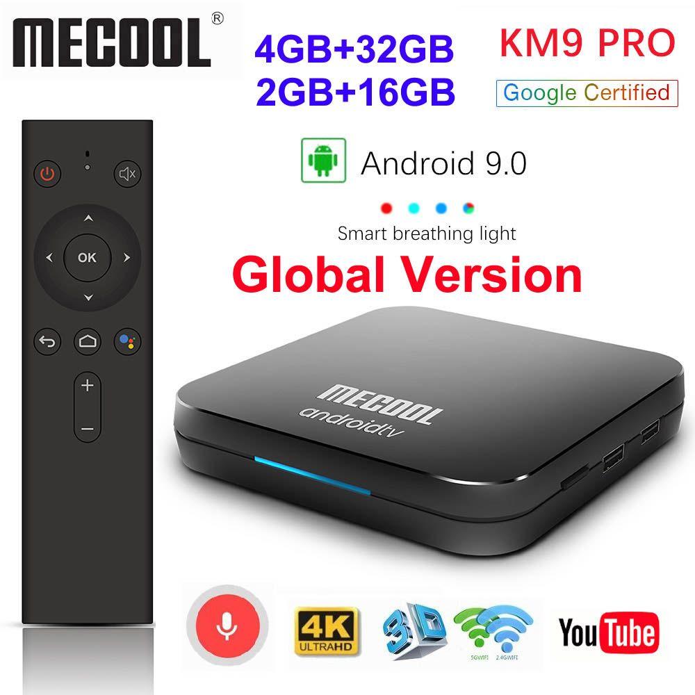 Google certifié MECOOL KM9 PRO Androidtv 9.0 KM3 ATV 4 GB 64 GB 32 GB Android 9.0 TV Box Amlogic S905X2 4 K 2.4G 5G double Wifi BT4.0