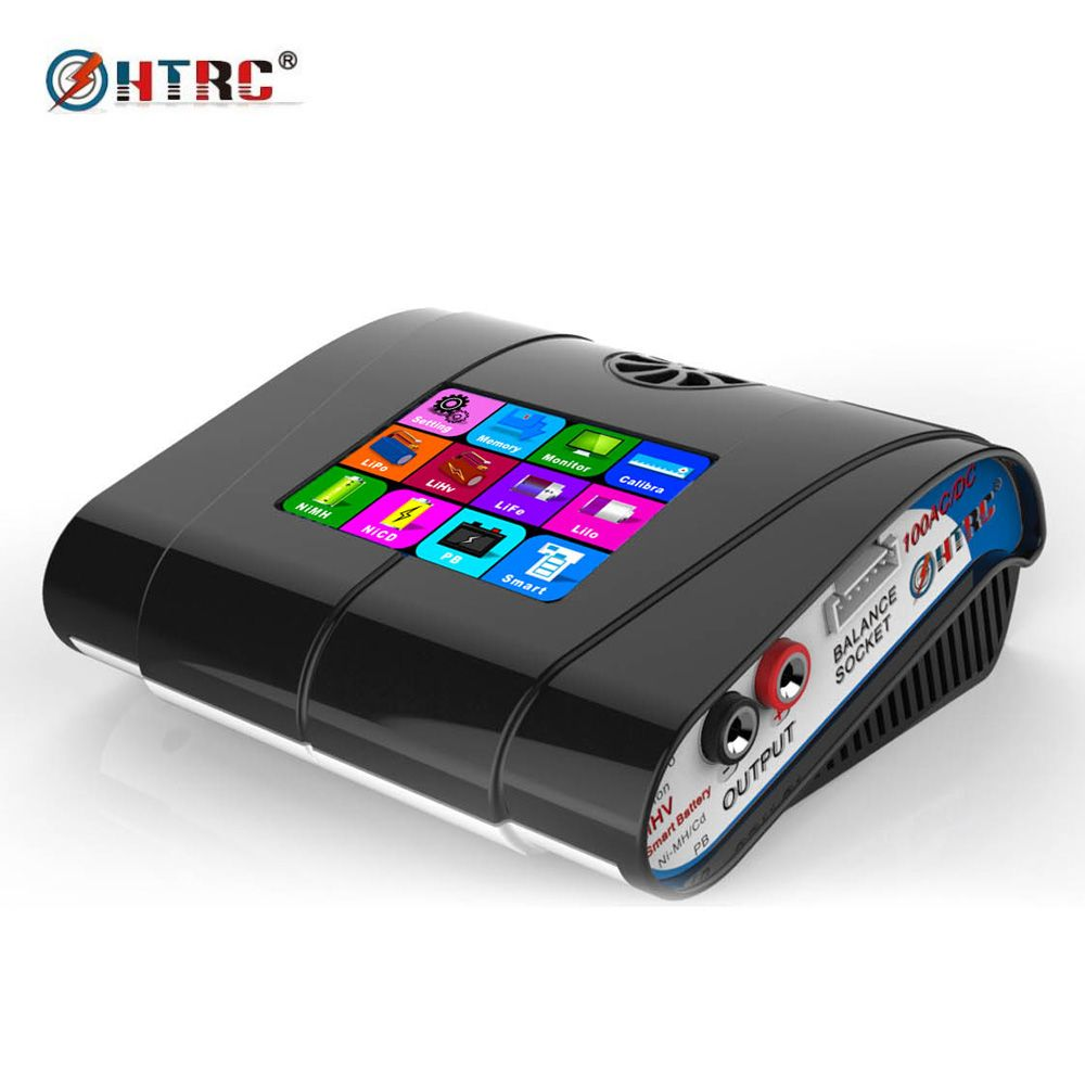 HTRC HT100 AC/DC 3.2 Color LCD Touch Screen <font><b>100W</b></font> 10A RC Balance Charger For Lion/LiPo/LiFe/LiHv Battery