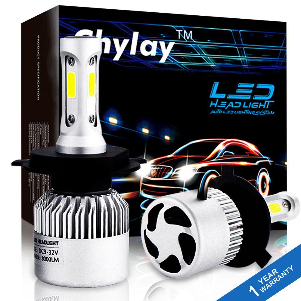 2 pièces H4 LED H7 H11 H1 H3 9005 9006 Auto Voiture Phare 72 W 8000LM Haute Basse Faisceau Lumineux Automobiles Lampe blanc 6500 K Ampoule