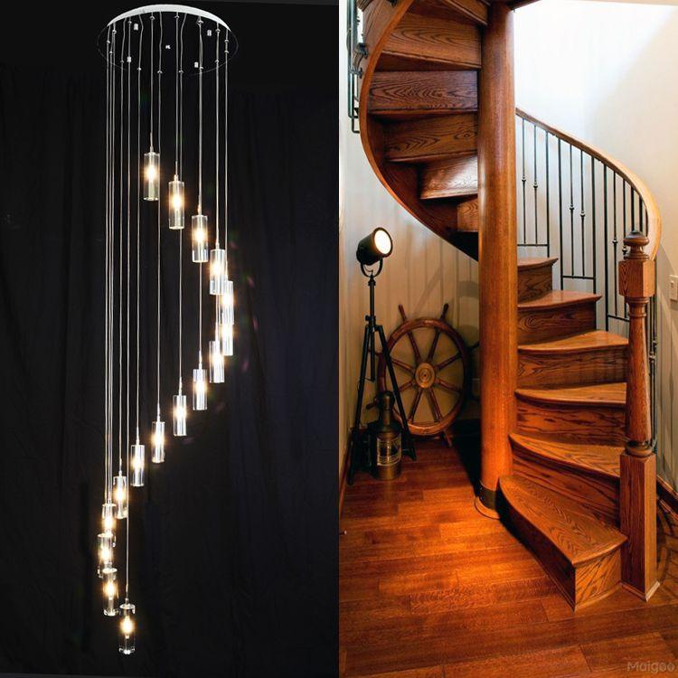 Doppeltreppe Große Kristall Pendelleuchte Villa Luxus G4 FÜHRTE Lange Kronleuchter Blasensäule Kristall Wohnzimmer Spirale Lampe