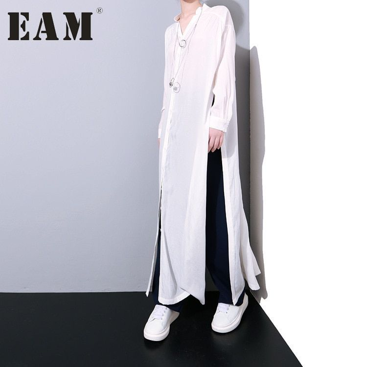 [EAM] 2018 Autumn Casual Big Size Solid Color Spilt The Fork Single Breasted Loose Waist Women's Long Shirt Blouse K465