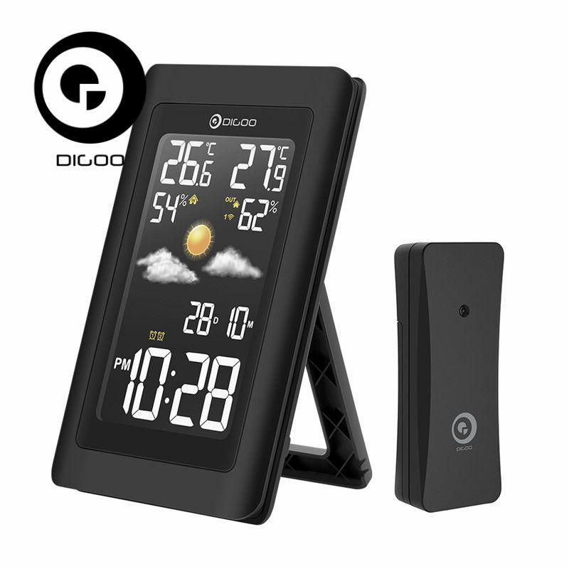 Digoo DG-TH11300 Wireless HD Screen USB Outdoor Weather Station VA Glass Hygrometer <font><b>Thermometer</b></font> Forecast Sensor Clock